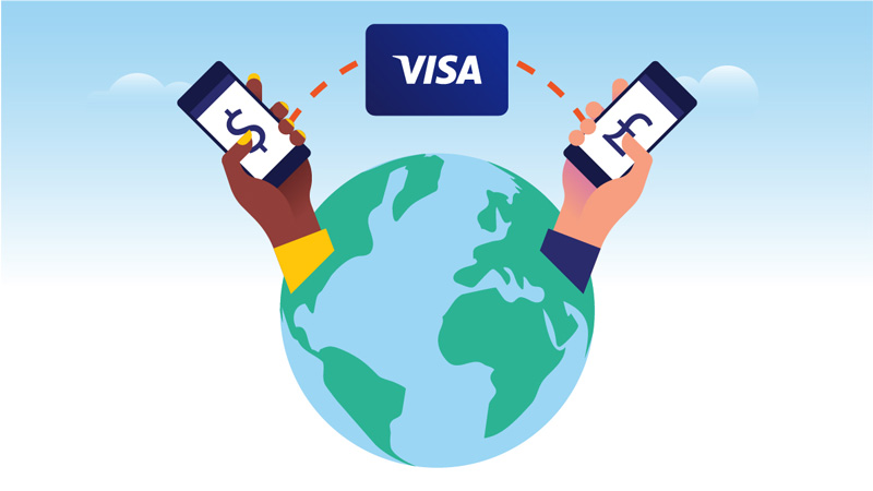 A conceptual illustration depicts two phones making cross border payments around the world, connected by a Visa logo.