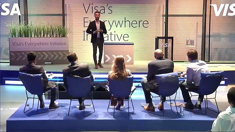 Visa Everywhere Initiative pitch coaching session with speaker and five participants.